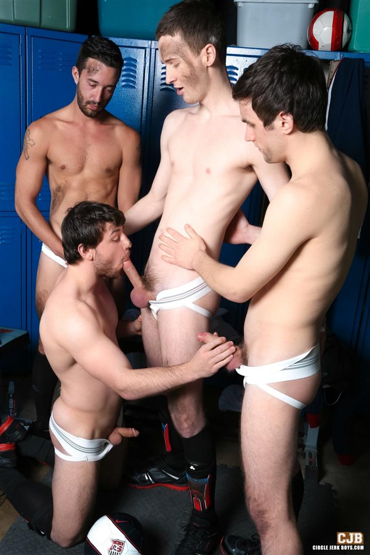 Circle Jerk Boys Andrew Collins and Isaac Hardy and Josh Pierce and Scott Harbor Soccer Guys Sucking Cock Amateur Gay Porn 05 After the Game, Soccer Plays Sucking Cock In The Locker Room