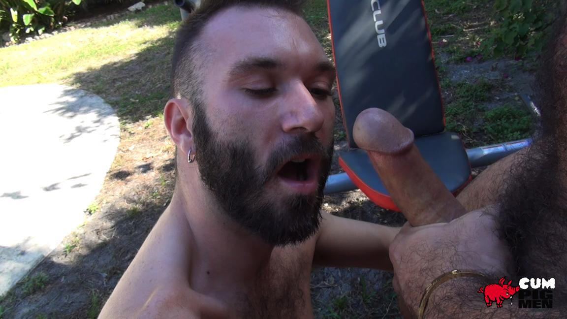 Gay movie muscle cum eating