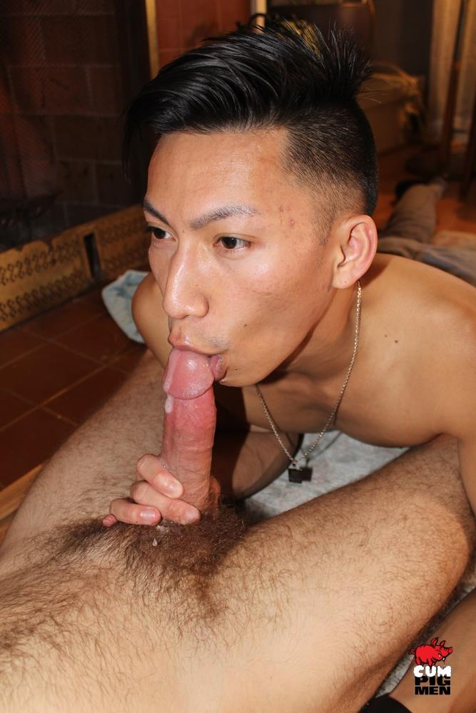 Cum-Pig-Men-William-Crown-and-David-Ace-Cocksucking-and-Cum-Eating-Video-11 William Crown Gets A Load Sucked Out Of His Hairy Cock By Sexy Asian David Ace